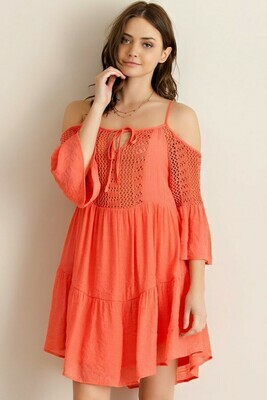 Crochet Front Open Sleeve Dress