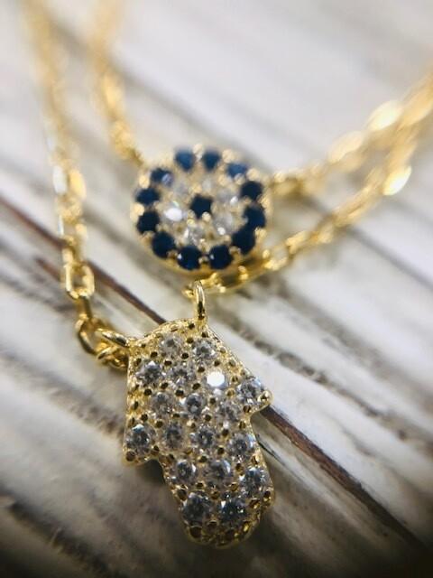 Hamsa & Blue Mini Evil Eye Necklace