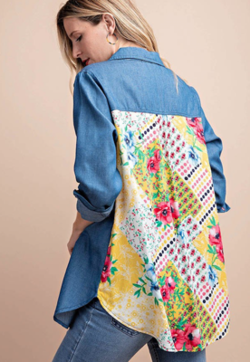 "Denim & ""Patchwork"" Floral Top"