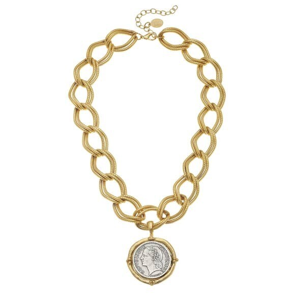 Gold & Silver Coin on Gold Chain Necklace