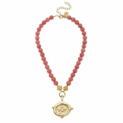 Handcast Gold Bee Intaglio on Pink Coral Necklace