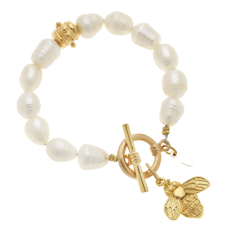 Freshwater Pearl & Bee Bracelet
