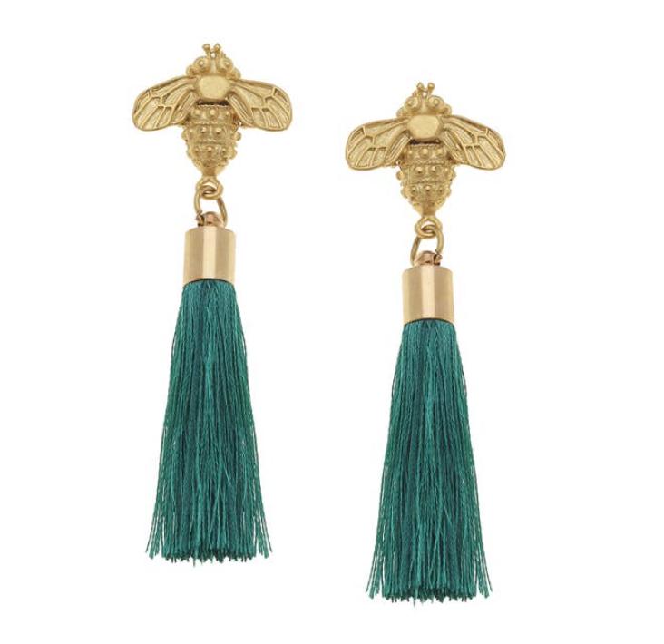 Gold Bee and Teal Silk Tassel Earrings