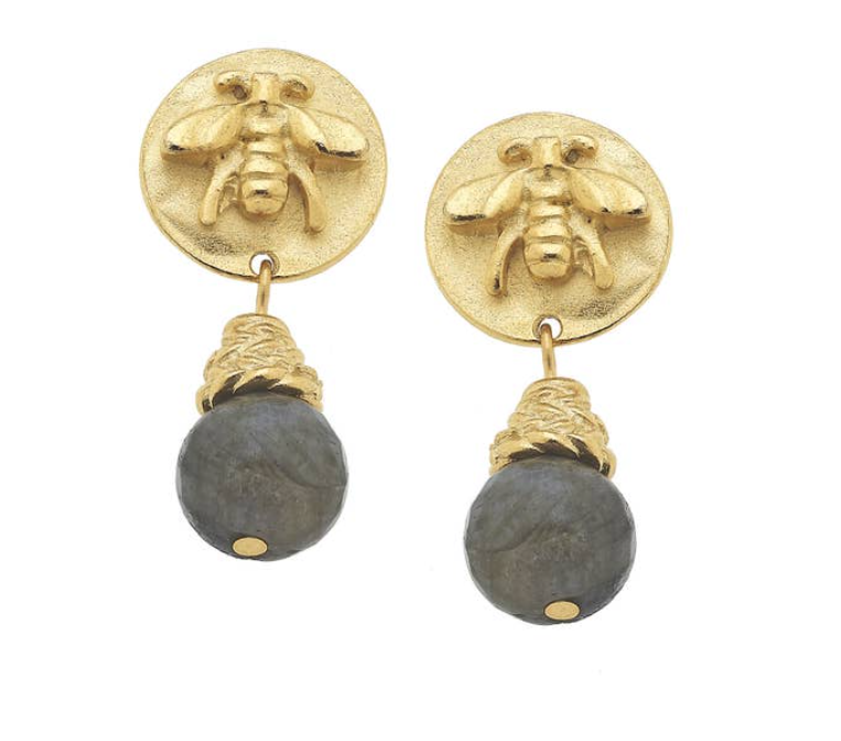 Gold Bee and Genuine Labradorite Earrings