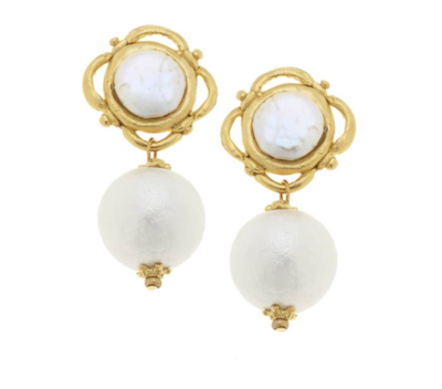Gold with Coin Pearl and Cotton Pearl Clip Earrings