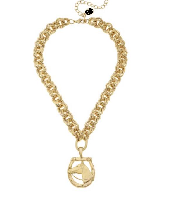 Gold Horseshoe and Pendant Necklace