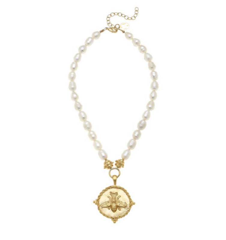 Gold Bee on Fresh Water Pearl Necklace