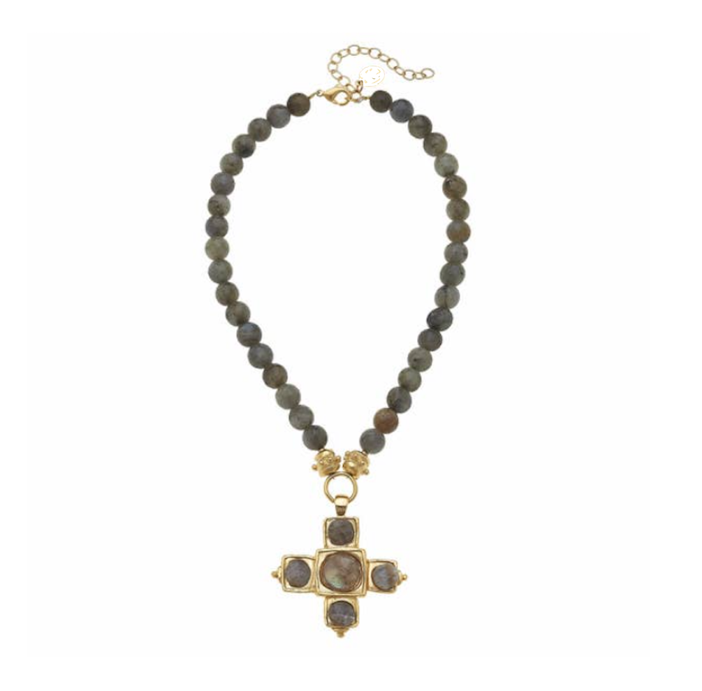 Gold Cross and Labradorite Necklace