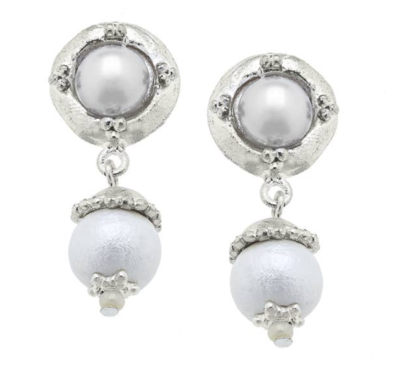 Silver /Cotton Pearl Earrings