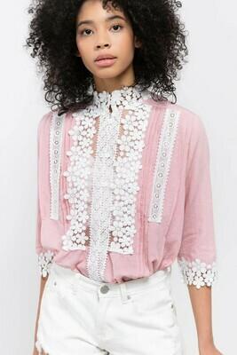 Eyelet Trim Pink & White Top