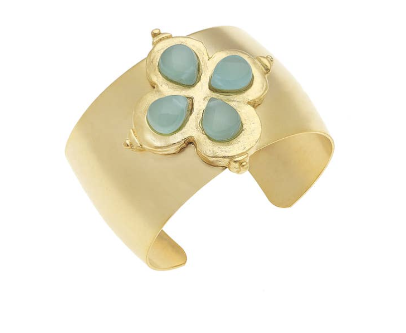Gold Clover with Genuine Aqua Quartz Cuff Bracelet