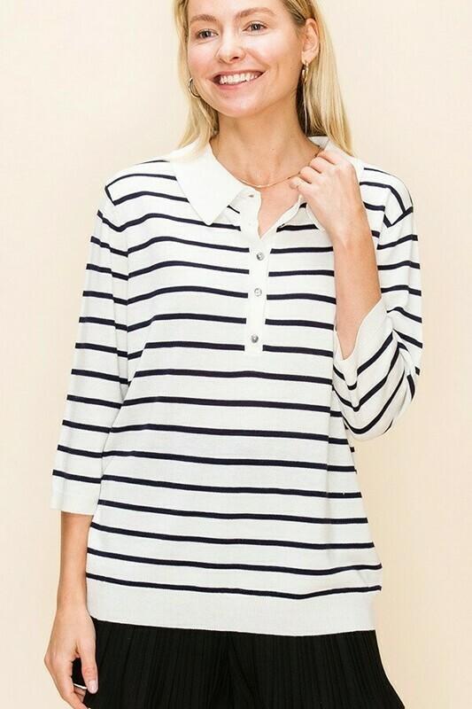 Striped Polo Top