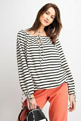 Striped Black & White Loosefit Top