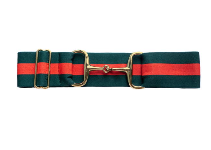 Green & Red Snaffle Buckle Belt
