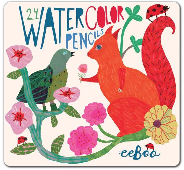 Squirrel & Bird Watercolor Pencils