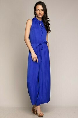 Button Down Capri Blue Jumpsuit