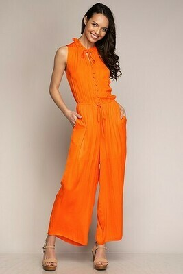Button Down Tangerine Jumpsuit