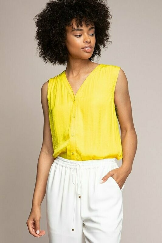 V Neck Pinapple Colour Sleeveless Top