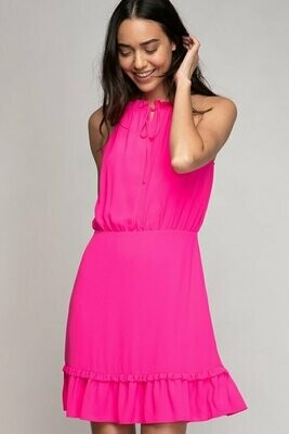 Tie Front Ruffle Trim Dress