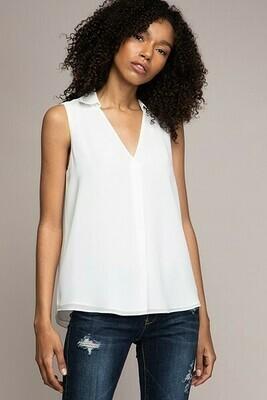 Collared Off White Sleeveless top