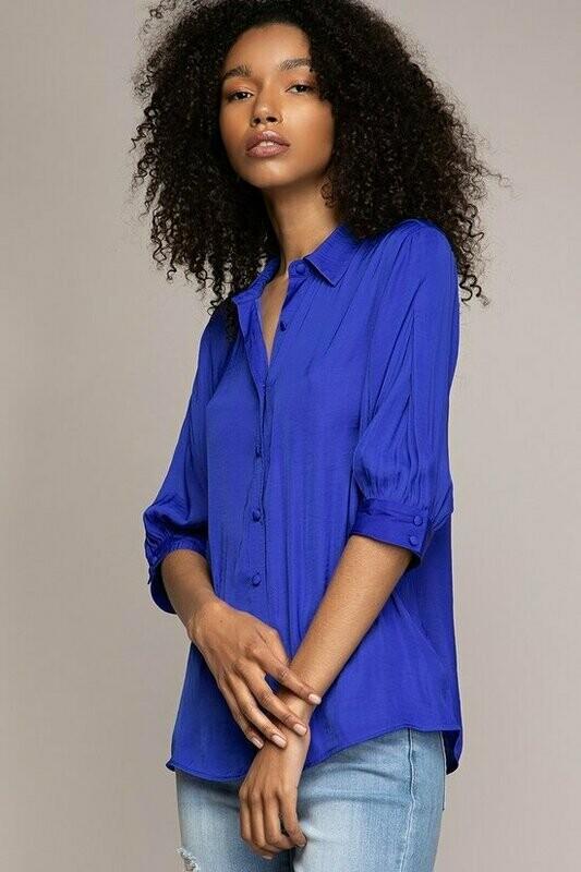 Capri Blue 3/4 sleeve top