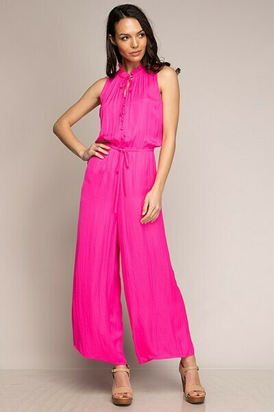 Button Down Hot Pink Jumpsuit