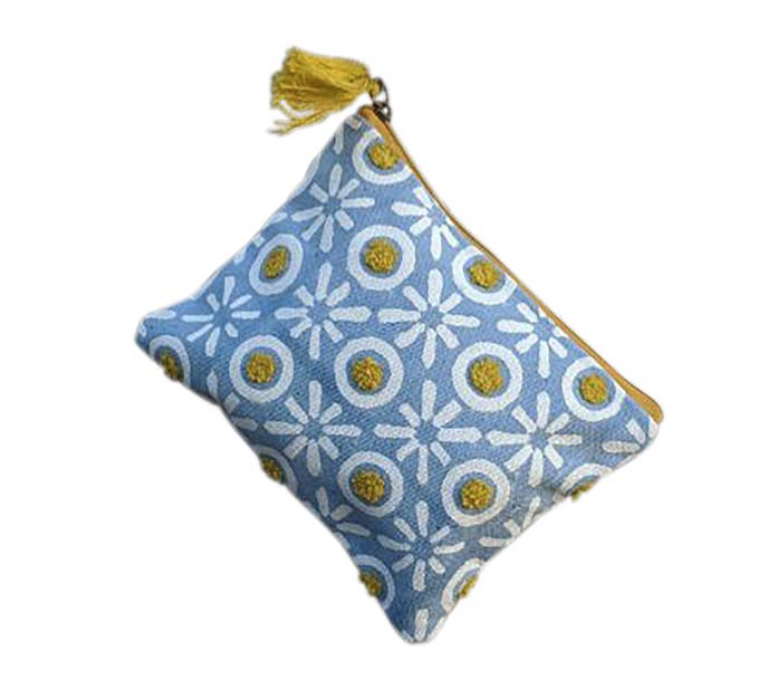 Yellow & Blue XO Pouch