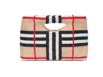 NoBerry Plaid Full Beaded Clutch