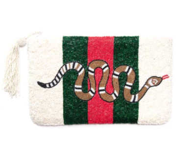 Red Snake Beaded Clutch