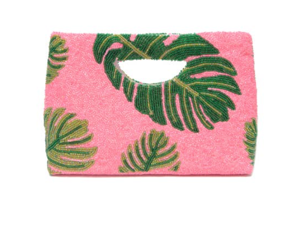 Pink Palm D'or Beaded Clutch