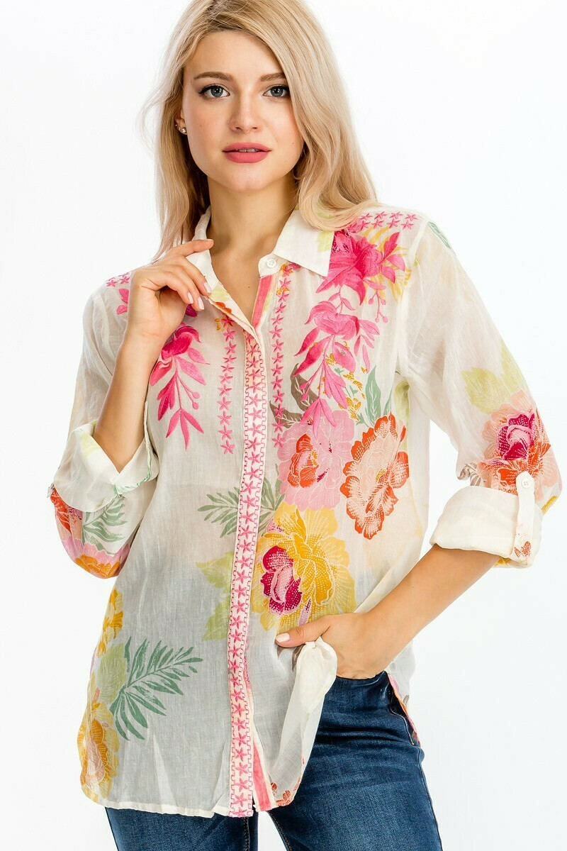 Embroidered Flower Print Top