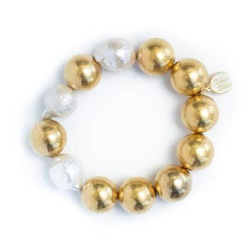 -Gold Plated Ball & Baroque Pearl Stretch Bracelet