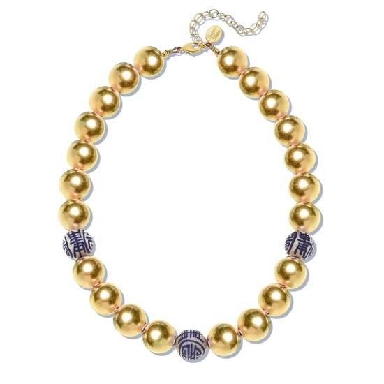 -Gold Plated Ball & Porcelain Bead Choker
