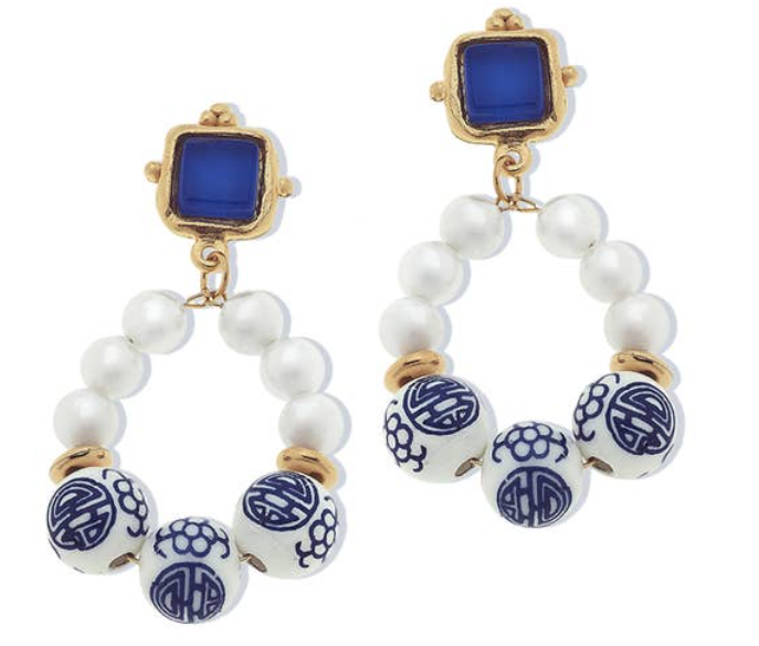 -Blue Glass & Porcelain Bead Dangle Earrings
