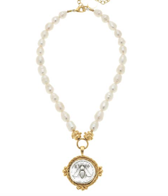 -Gold and Silver sharp Bee Coin on Genuine Freshwater Pearl