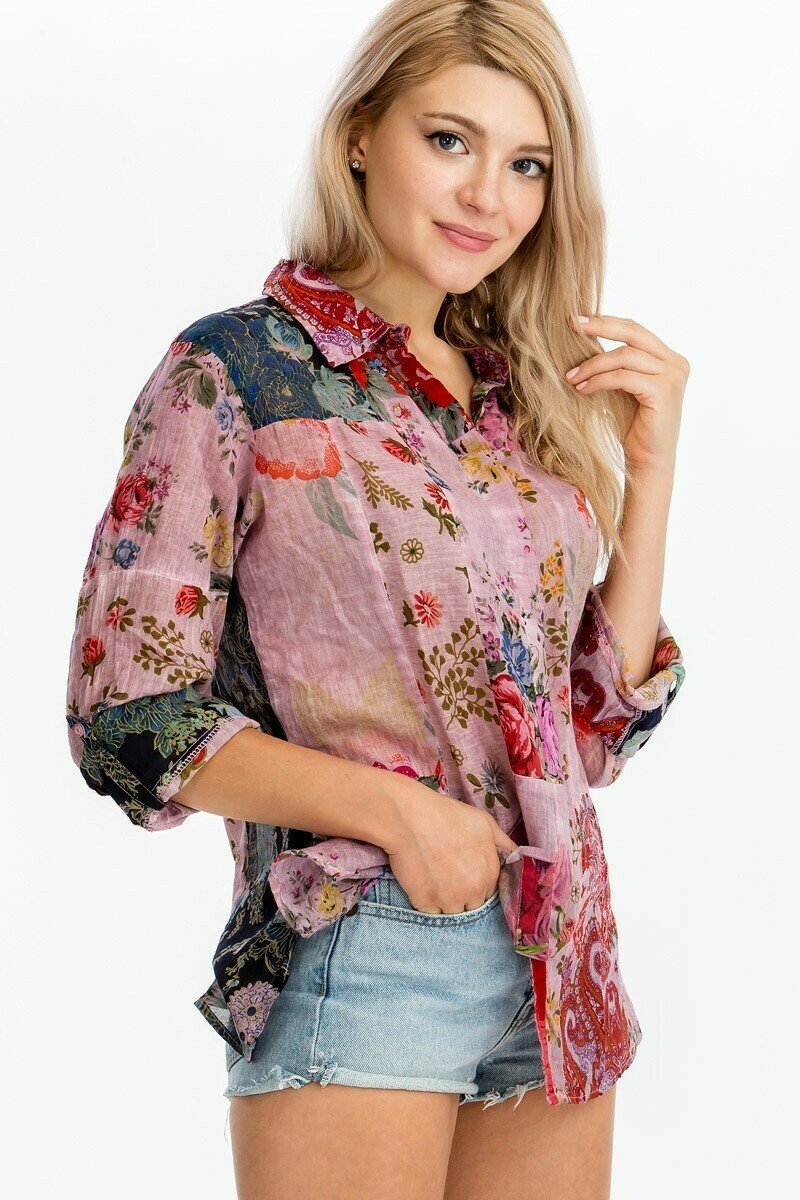 Patchwork Print Button Down Top