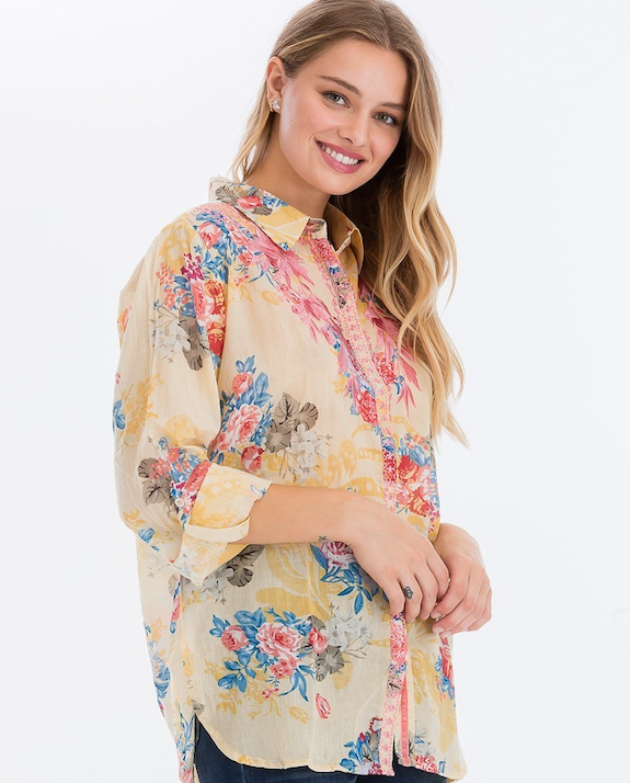 Mixed Floral Print Button Down Top
