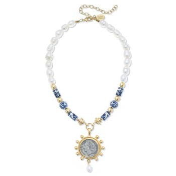 -Porcelain Bead, Pearl Franc Necklace