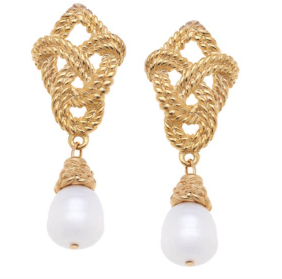 -Handcast gold with genuine freshwater pearl drop earring.