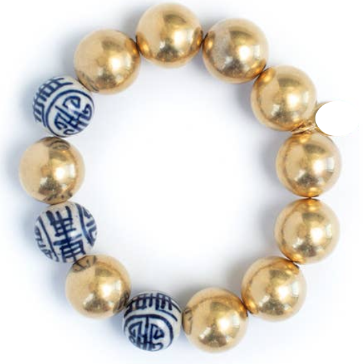 -Gold Plated Ball & Porcelain Bead Stretch Bracelet