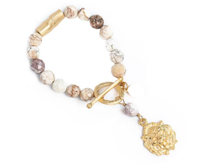 -Agate Bracelet w/ Lion Charm