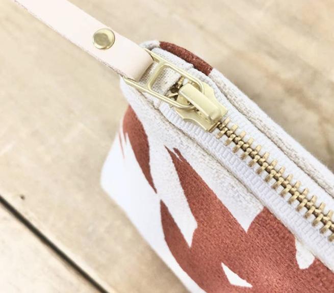 Clay Lotus zip  Bag