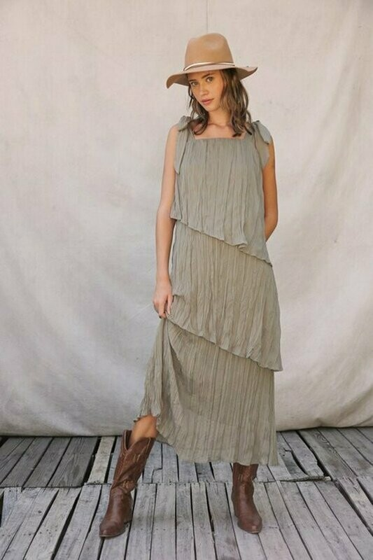 Crinkled Chiffon Dress