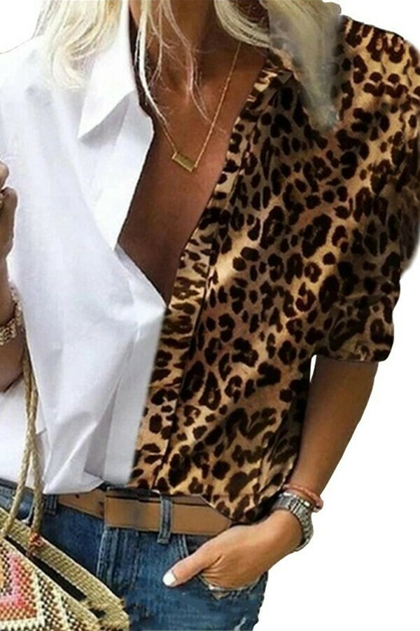 White & Leopard Top