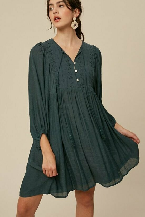 Hunter Green Puff Sleeve Dress