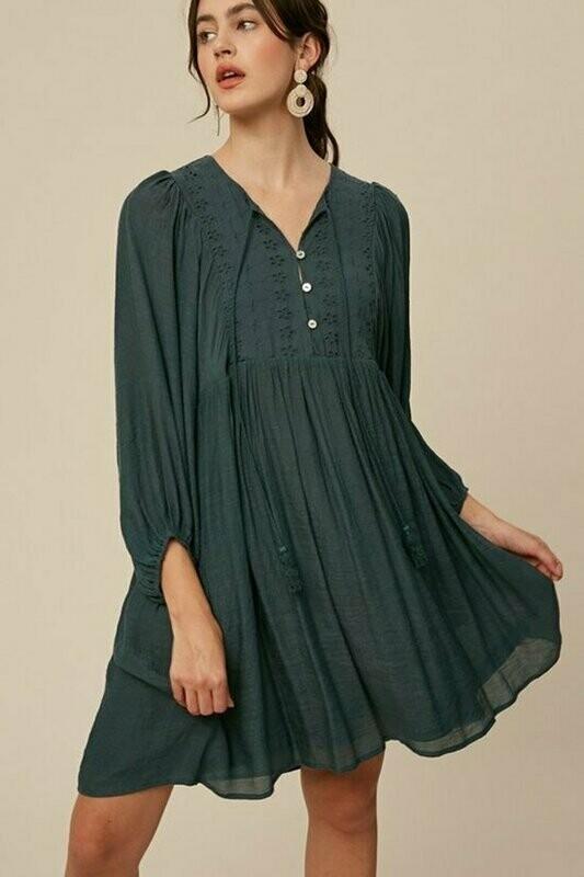 Hunter Green Puff Sleeve Dress