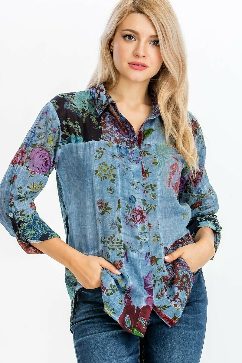 Patchwork Blue Button Down Top