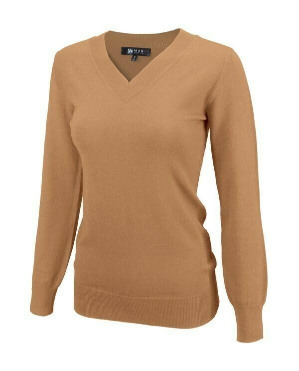 V-Neck Caramello Knit Sweater