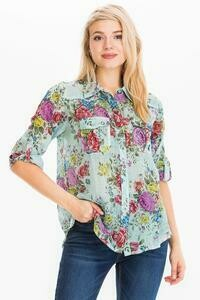 Minty Rose Button Down Top