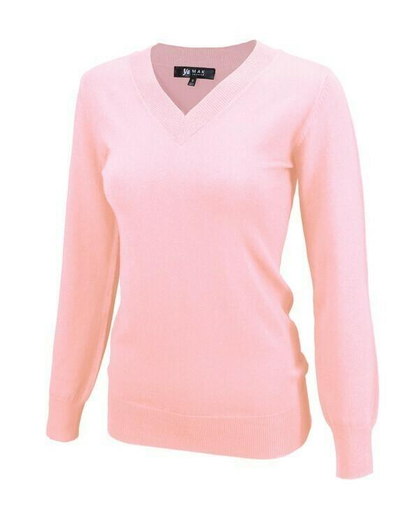 V-Neck Pink Knit Sweater